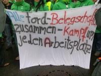 Ford-Arbeiter aus Genk besetzen die Ford Europazentrale auf dem Kölner Werksgelände